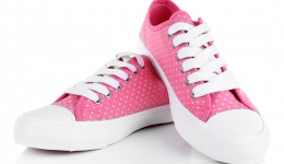 Pink trainers isolated on white
